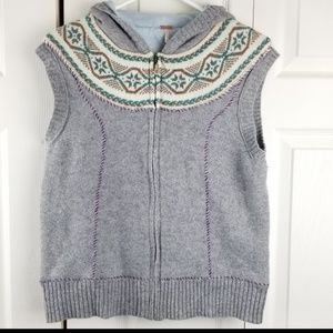Free People hooded sweater vest medium wool grey